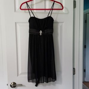 Black shimmer dress with rhinestone embellishments